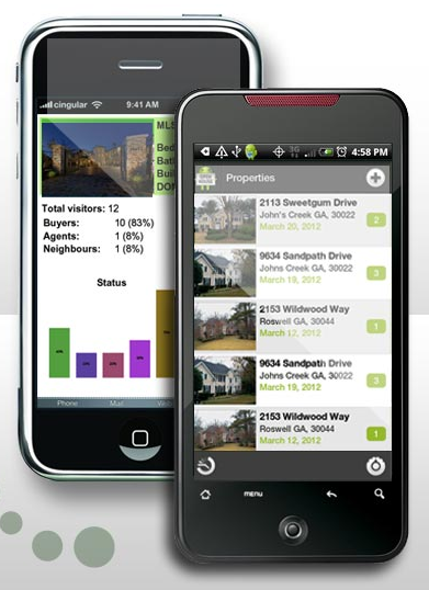 Smart phone mobile apps to help real estate agents track buyers to open homes for property for sale - screen shot of casmyllc