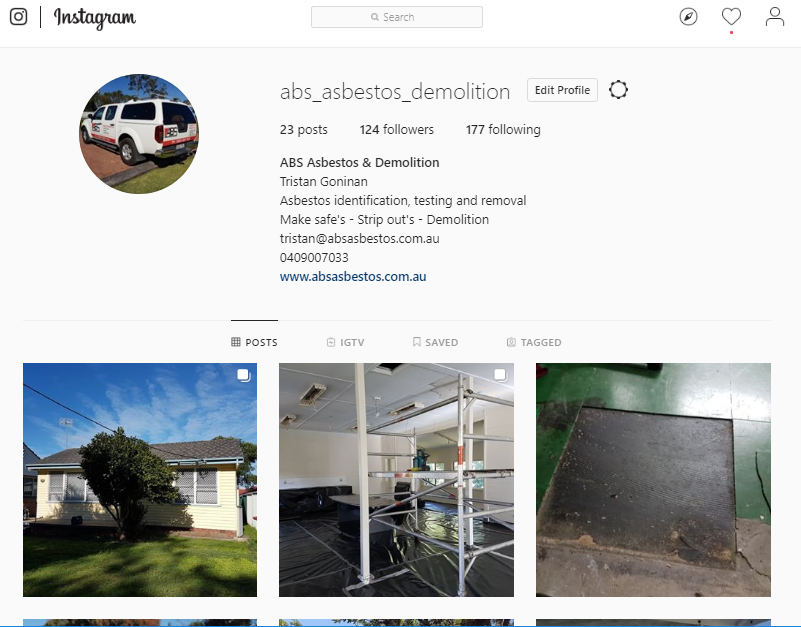Instragram for digital marketing to get images from your smartphone to your WordPress website for ABS Asbestos removal & Demolition