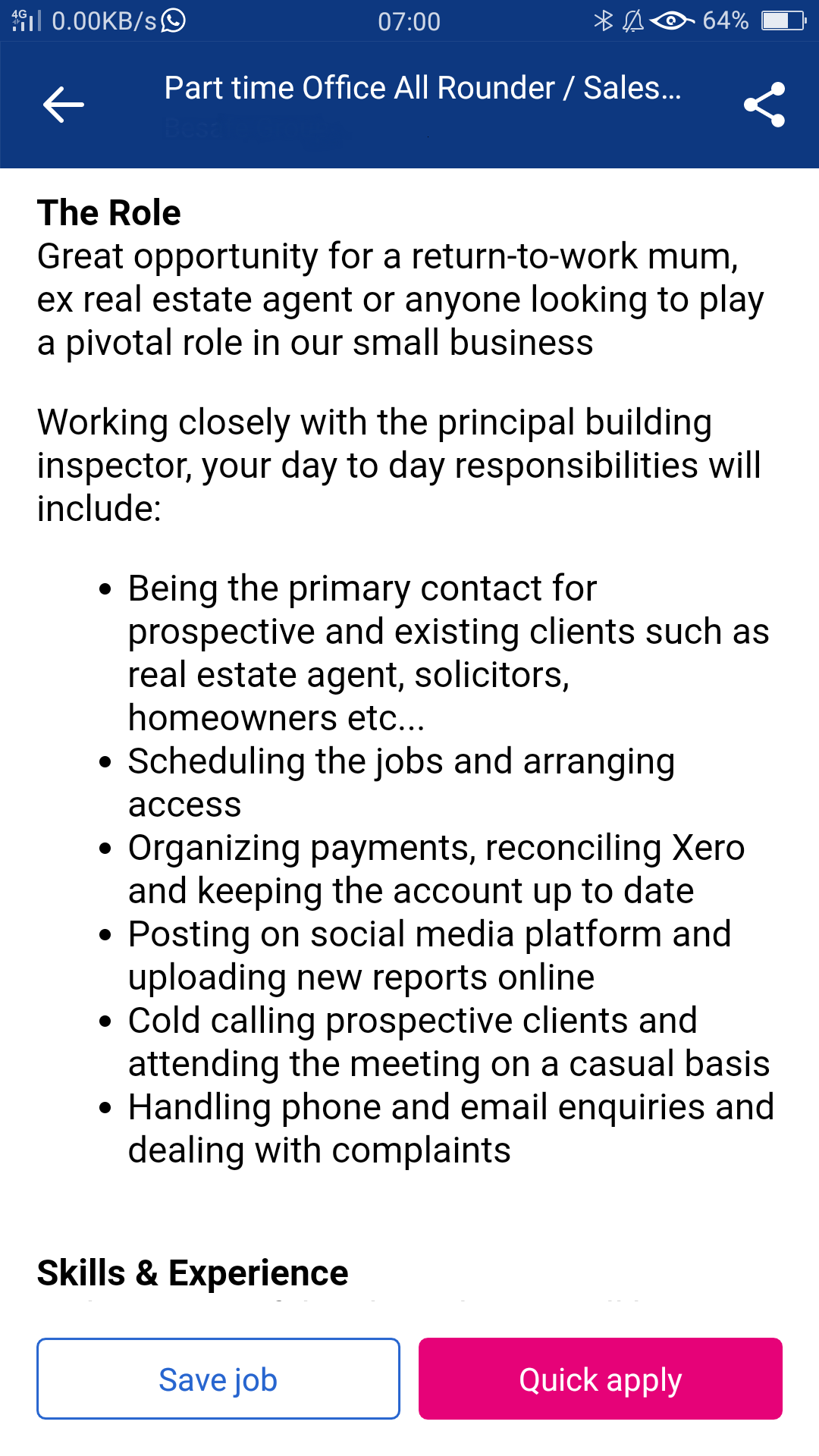 Daily Responsibilities for Office Admin Support Part time Job Ad in Sydney - Online Customer Service and Sales Training Courses