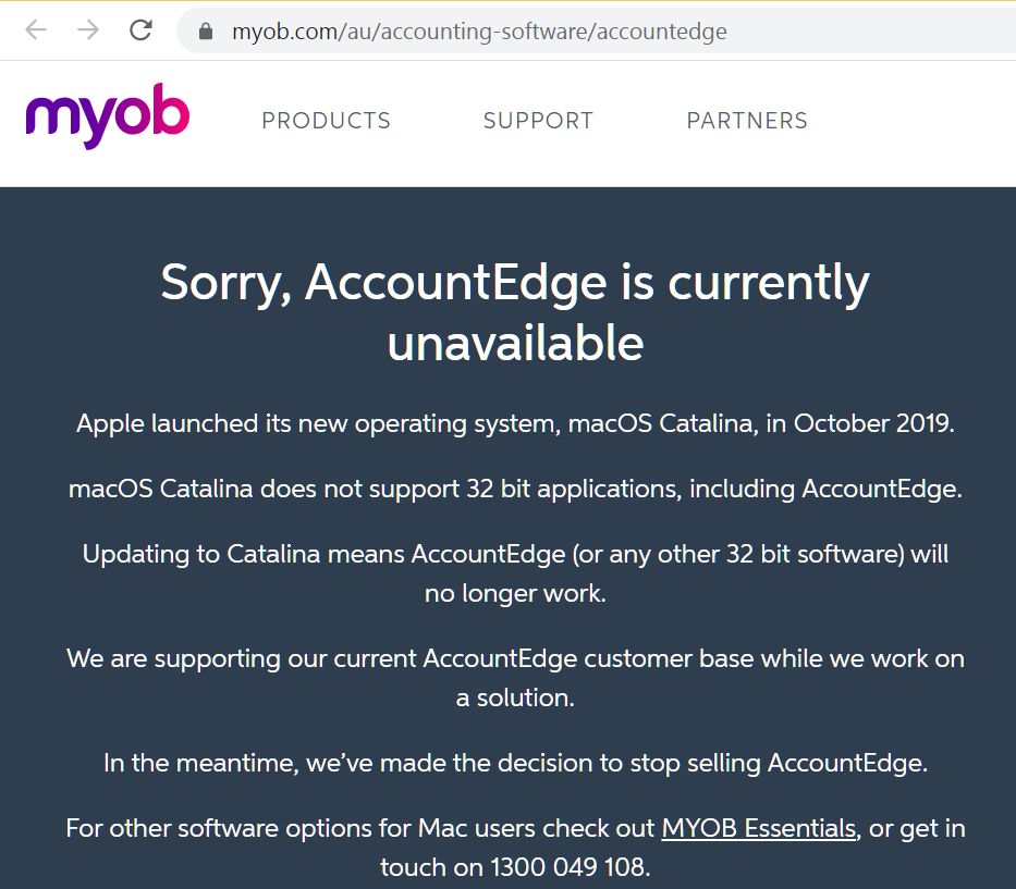 MYOB-AccountEdge-is-currently-unavailable-Apple-Catalina-made-MYOB-compete with Xero using MYOB-Essentials-Online-training-courses