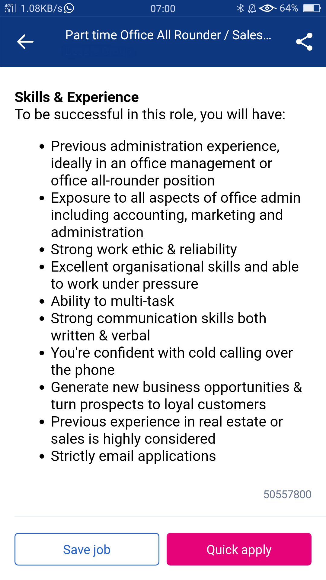 Skills and Experience for Office Admin Support Part time Job Ad in Sydney - Online Customer Service and Sales Training Courses